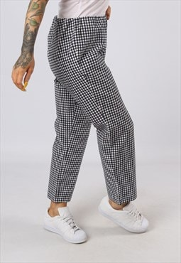 High Waisted Trousers Checked Wide Tapered UK 16 (GOAP)