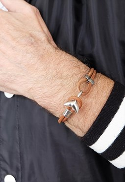 Brown Dolphin Leather Bracelet