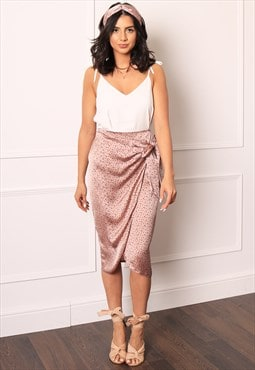 Satin Leopard Print Wrap Over Curve Hem Midi Skirt Pink Navy