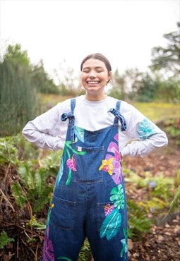 Hand Painted Organic Tropical Dungarees