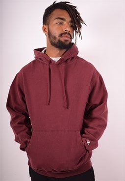 Champion Mens Vintage Hoodie Jumper Medium Maroon 90s