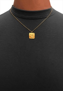 "20"" Square Rose Pendant Necklace Chain - Gold"
