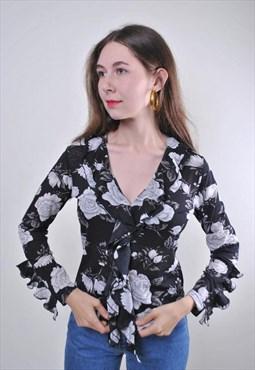 Black flowers vintage woman ruffled blouse