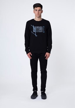 Black Sweatshirt with Blue Athen Print and Embroidery