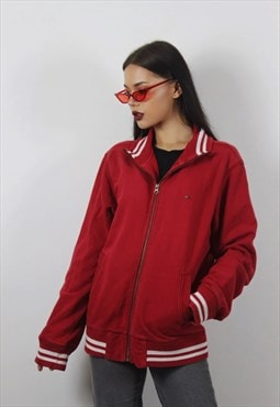 Vintage Red Tommy Hilfiger Zip Up Jumper/Jacket