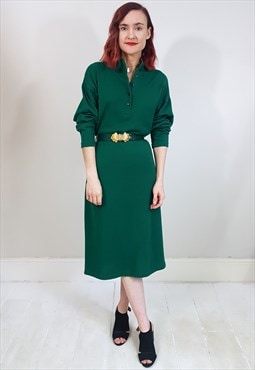Vintage 80's Green Gold Belt Sweater Dress