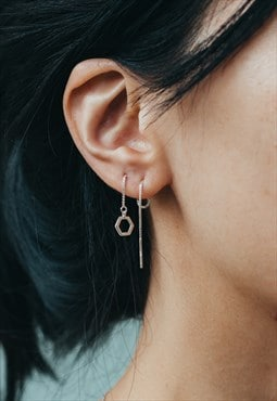 Silver Hexagonal Threader Chain Earring