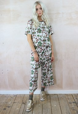 Cropped Trousers and Box Top Co-ordinates in Flower Print