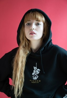 Hoodie in Black with Embroidered Rose