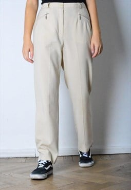 Vintage 90s Beige Pants with White Striped