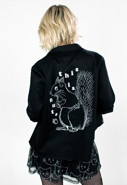 'Nutty' Squirrel Slogan Embroidery Black Satin Woven Shacket