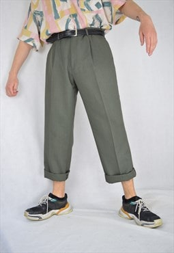 Vintage green classic suit straight trousers