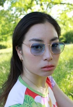 Aki Blue Lens Retro Gold Frame Sunglasses