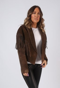 Suede Leather Tassel Fringe Jacket Vintage UK 14 (CW2D)