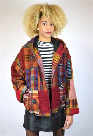 VINTAGE 90'S PATCHWORK STYLE WOOL COAT