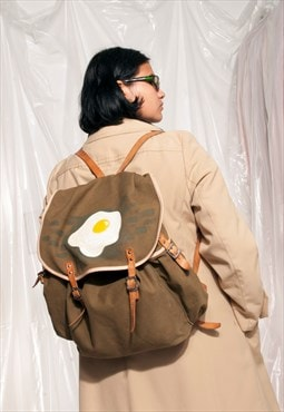 Vintage backpack 80s hand-painted egg military rucksack