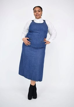 Vintage 90's Long Denim Pinafore Dress With Pockets