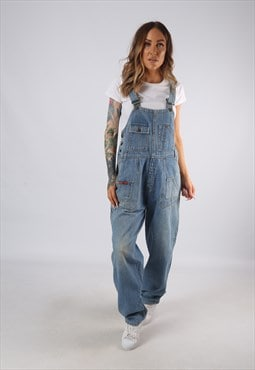 Vintage Denim Dungarees Wide Tapered Leg UK 12 M  (E4D)