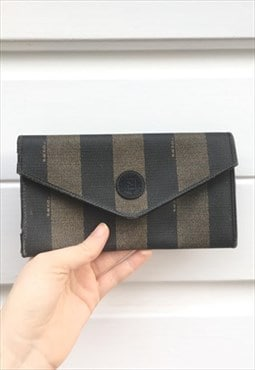 Womens Vintage 80s Fendi purse brown stripy leather wallet