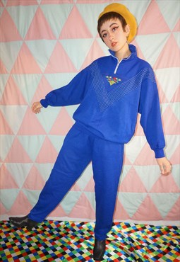Vintage 80s Bright Blue Embroidered Apres Ski Co-Ordinates