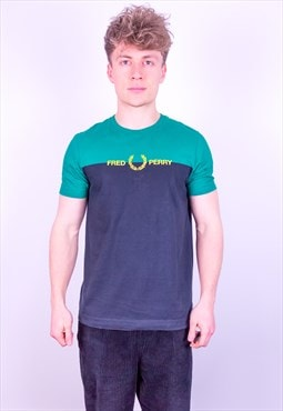 Vintage Fred Perry Spell Out T-Shirt in Green & Blue