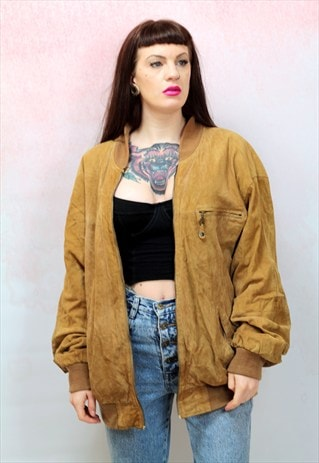 1980S VINTAGE TAN REAL SUEDE BOMBER JACKET