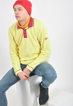 Vintage long sleeve polo shirt in yellow