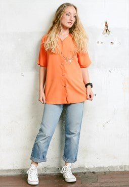 Vintage 80s Orange Blouse