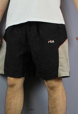 Vintage Fila Shorts in Black with Pockets and Embroidered Lo