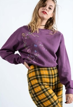 Vintage Graphic Print Sweatshirt In Purple