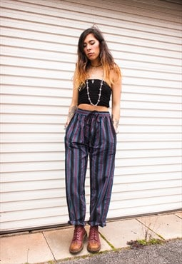 Fairtrade Blue & Red Striped Cotton Drawstring Trousers