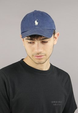 Vintage Ralph Lauren Cap In Navy With White Pony Logo