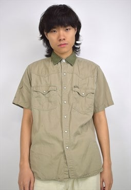 Vintage 90s Dickies Brown Popper Button Shirt