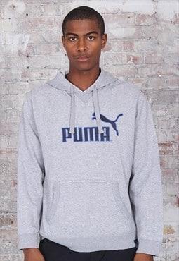 Vintage Puma Big Logo Hoodie Grey