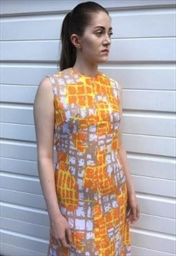 Womens Vintage 60s dress orange patterned sleeveless maxi