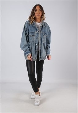 Denim Jacket Oversized Fitted Vintage UK 20 - 22  (CW3T)