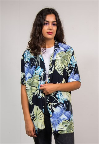 90'S VINTAGE BLACK FLORAL LEAF PATTERN TROPICAL SHIRT