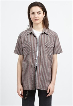 Vintage Grey Red LEE Short Sleeve Striped Shirt