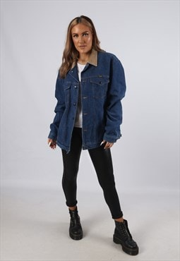 Vintage Denim Jacket WRANGLER Oversized Lined UK 16 (B4I)