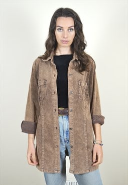 90s Vintage Brown Distressed Cord Long Sleeve Shirt