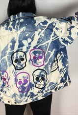 Acid Wash Skulls Hand Painted Reworked Denim Jacket