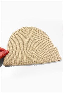 Ski Trawler Knitted Ribbed Beanie Hat - Light Sand
