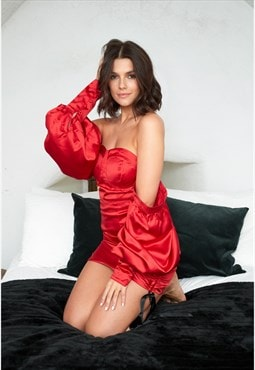 I See Fire Off Shoulder Ruched Mini Dress in Red