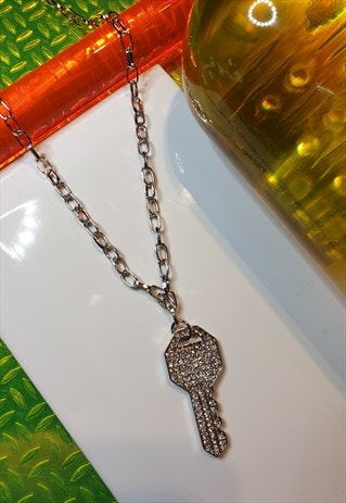 SILVER TONE DIAMANTE KEY NECKLACE