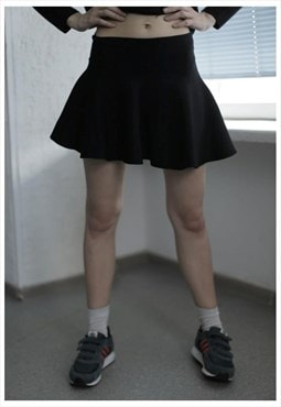 Vintage 90's Black Cotton Mini Skirt