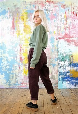 Cord Trousers & Green Crop Sweat Co-ordinates