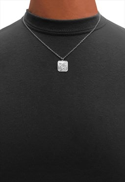 "20"" Square Rose Pendant Necklace Chain - Silver"