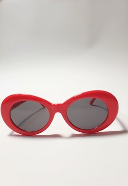 Red Kurt Oval Sunglasses with Black Lenses