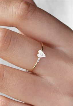 MILLICENT 14K Gold Fill Dainty Minimal Heart Stacking Ring