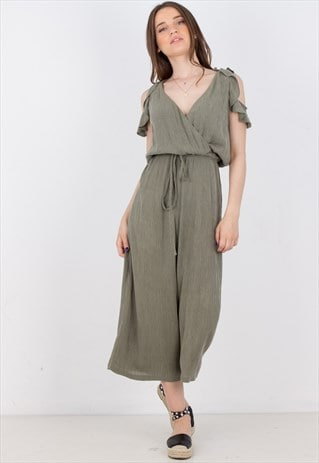 KHAKI CROPPED JUMPSUIT